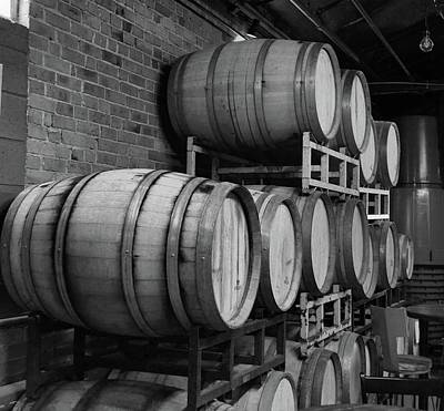 Photograph - Wine Barrels Bw by Charles HALL