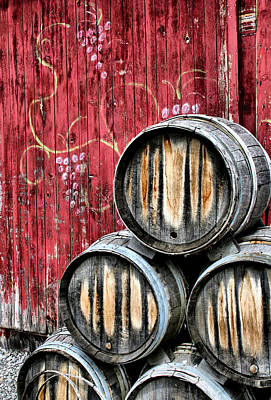 Grape Vines Photograph - Wine Barrels by Doug Hockman Photography