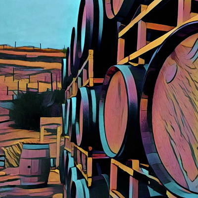 Digital Art - Wine Barrels En Vogue by Richard Hinds