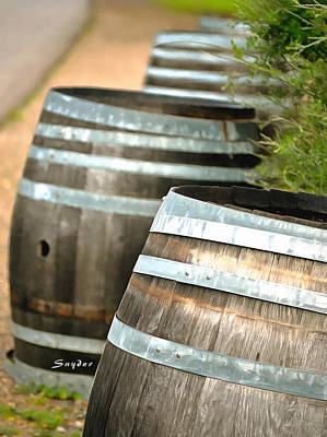 Photograph - Wine Barrels Foxen Winery Painting by Barbara Snyder