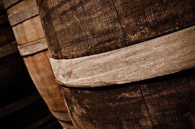 Photograph - Wine Barrels In A Cellar by Brandon Bourdages