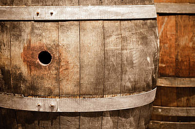 Photograph - Wine Barrels In Cellar by Brandon Bourdages