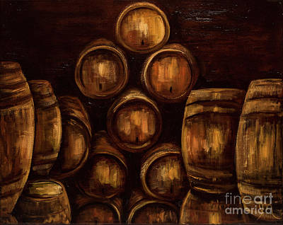 Wine Barrel Painting - Wine Barrels by Jodi Monahan