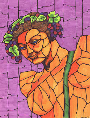 Blue Grapes Drawing - Wine Bearer by Christie Ross