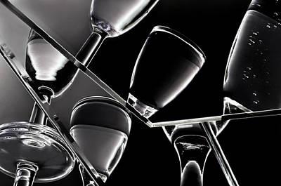 Wine Black Glasses With Drinks Art Print by   larisa Fedotova