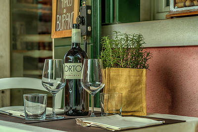 Photograph - Wine Bottle And Glasses Burano Venice_dsc5059_03032017 by Greg Kluempers