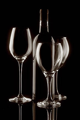 Wine Bottle And Wineglasses Silhouette II Art Print by Tom Mc Nemar