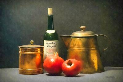 Photograph - Wine Bottle Copper Pots And Pomegranates by Frank Wilson
