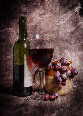 Kim Fearheiley Photography - Wine Bottle Glass Grapes And Jug Portrait Format With A Cracked  by Paul Cullen