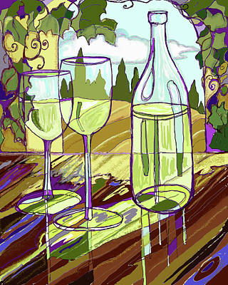 Purple Grapes Digital Art - Wine Bottle In Window by Peggy Wilson
