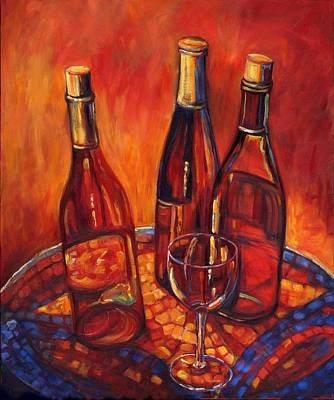 Wine-glass Painting - Wine Bottle Mosaic by Peggy Wilson