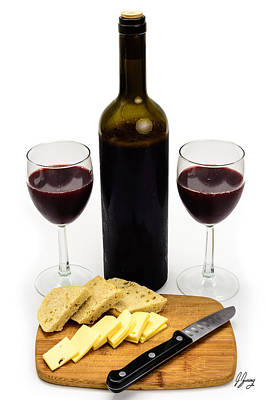 Wooden Platter Photograph - Wine Bottle With Glasses, Cheese And Bread by Joshua Zaring