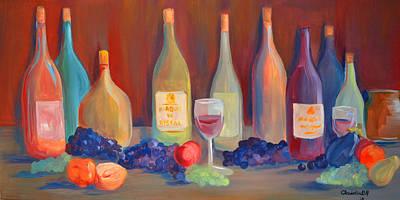 Italian Wine Painting - Wine Bottles by Claudia