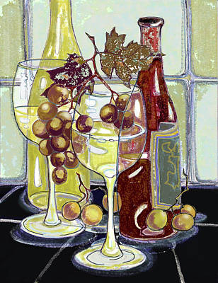 Wine Bottles Grapes And Glasses Art Print by Peggy Wilson