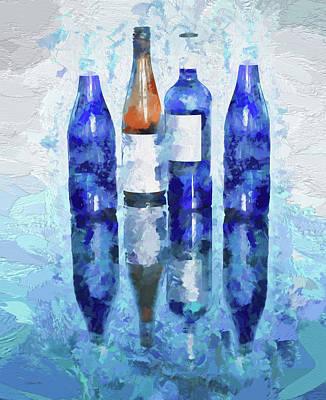 Digital Art - Wine Bottles Reflection  by Lena  Owens OLena Art