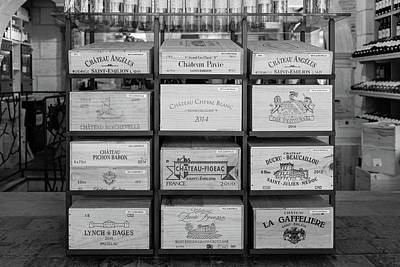 Wine Boxes In A Bordeaux Winery  In Mono Art Print
