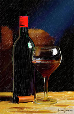 Glass Of Wine Painting - Wine Cellar 01 by Wally Hampton