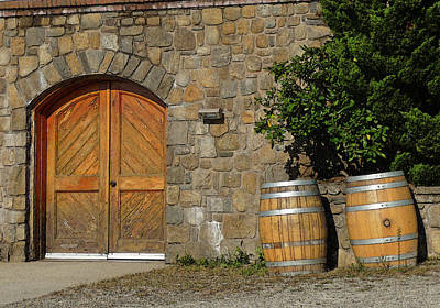 Photograph - Wine Cellar Doors And Barrels by Margie Avellino