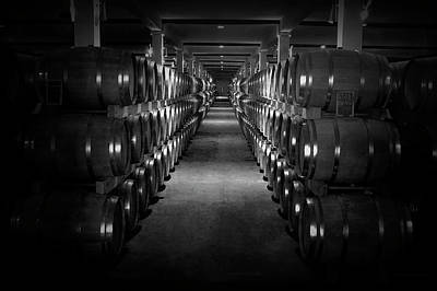 Wine Barrel Photograph - Wine Cellar Warehouse by Daniel Hagerman