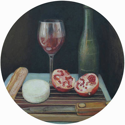 Italian Wine Painting - Wine, Cheese And Bread by Mark Manning
