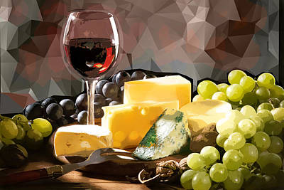 Glass Of Wine Painting - Wine Cheese And Grapes Still Life by Elaine Plesser