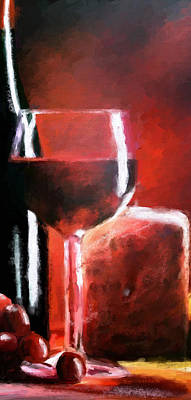 Digital Art - Wine Grapes Cheese Triptych Panel 2 Of 3 by James Shepherd