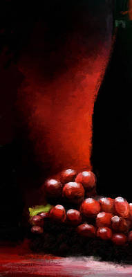 Digital Art - Wine Grapes Cheese Triptych Panel 3 Of 3  by James Shepherd