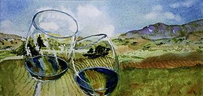 Wine Country Watercolor Painting - Wine Country Through Crystal Glasses By Grace Fong by Grace Fong