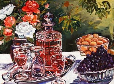 Wine Decanter Still Life Art Print by Alexandra Maria Ethlyn Cheshire