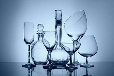 Wine Decanters With Glasses Art Print by Tom Mc Nemar
