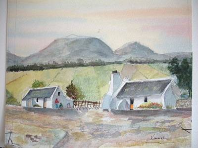 Painting - Wine Farm Worker's Cottages Western Cape South Africa by Harold Kimmel