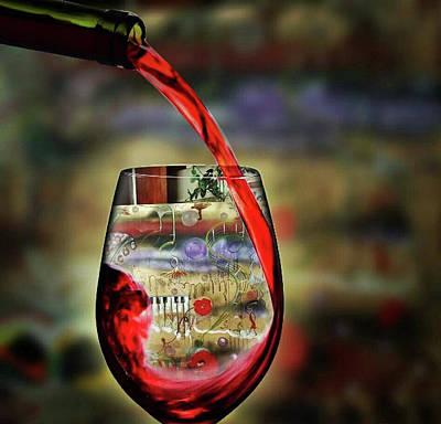 Digital Art - Wine For The Occasion by Jan Steadman-Jackson