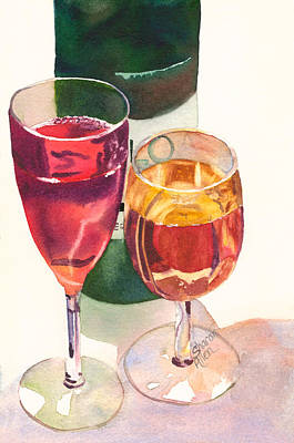 Five-o Painting - Wine For Two by Sharon Katie Allen