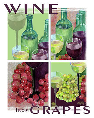 Wine Painting - Wine From Grapes Collage by Arline Wagner