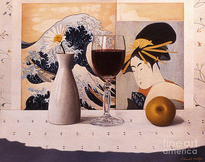 Painting - Wine Glas And Japanese Prints by Daniel Montoya