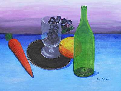 Wine Glass And Fruits Art Print by M Valeriano
