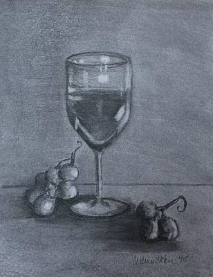 Wine Glass And Grapes Art Print