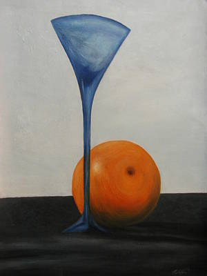 Wine Glass And Orange Art Print