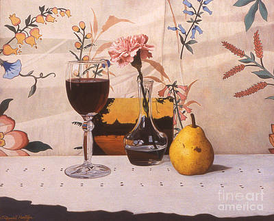 Painting - Wine Glass And Pear And Pink Carnation by Daniel Montoya