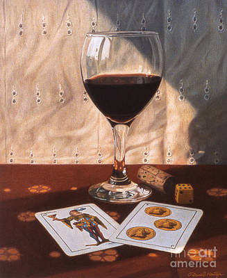 Painting - Wine Glass And Playing Cards by Daniel Montoya