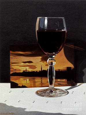 Painting - Wine Glass And Postcard Of Florence by Daniel Montoya