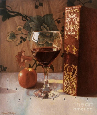 Wine Glass And Red Book Art Print by Daniel Montoya