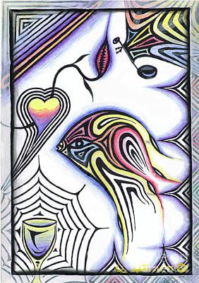 Painting - Wine Glass Fish by Luke Galutia
