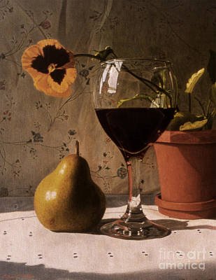 Painting - Wine Glass Pear And Pansy by Daniel Montoya
