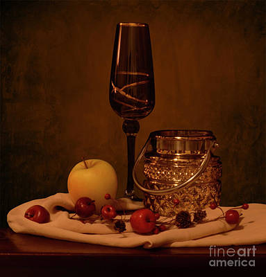 Winebottle Photograph - Wine Glass Still Life by Solongo