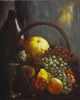 Basket Painting - Wine Goblet by Harvie Brown
