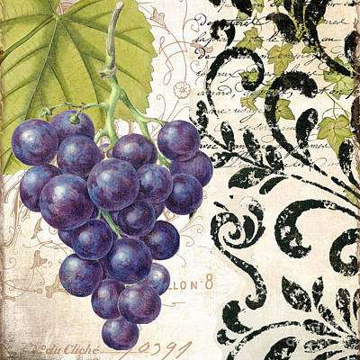 Wine Grapes And Damask Print by Mindy Sommers