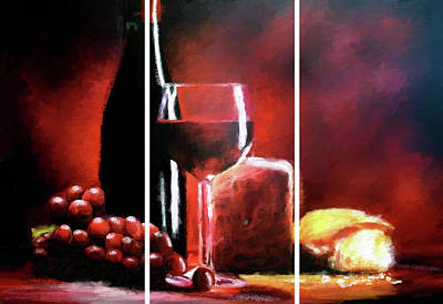 Digital Art - Wine Grapes Cheese Triptych  by James Shepherd