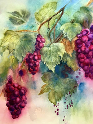 Painting - Wine Grapes by Hilda Vandergriff