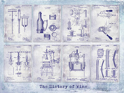 Wine History Patent Blueprint Art Print